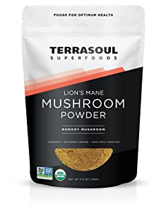 Terrasoul Superfoods Organic Lion's Mane Mushroom Powder (4:1 Extract), 5.5 Ounces