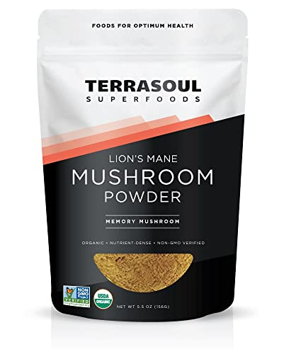 Terrasoul Superfoods Organic Lion s Mane Mushroom Powder 4 1 Extract , 5.5 Ounces