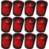 Biedermann & Sons Rustic Glass Votive Holder, Red, Set of 12