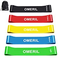 OMERIL Resistance Bands, Skin-Friendly Exercise Loop Bands with Different Resistance Levels Workout Bands for Legs and Glutes, Arms, Physio, Pilates, Yoga, Strength-Carry Bag Included