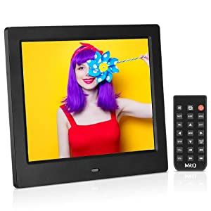 MRQ 8 Inch Digital Photo Frame, Upgraded 1024x768 HD IPS 180 Degree Wide Viewing Angle 4:3 Electronic Picture Video (1080P) Frame with MP3, E-Book, Calendar, Remote Control, USB and SD Card Slot