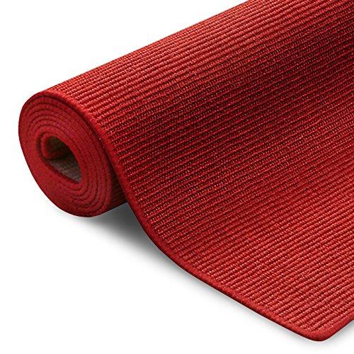 100% reines Sisal | Sisalteppich in verschiedenen Farben und vielen Größen (Rot, 200 x 240 cm)