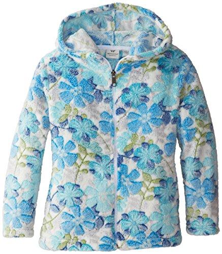 White Sierra Girl's Printed Winter Blossom Bomber Hoody, Medium, Blue Ice Combo