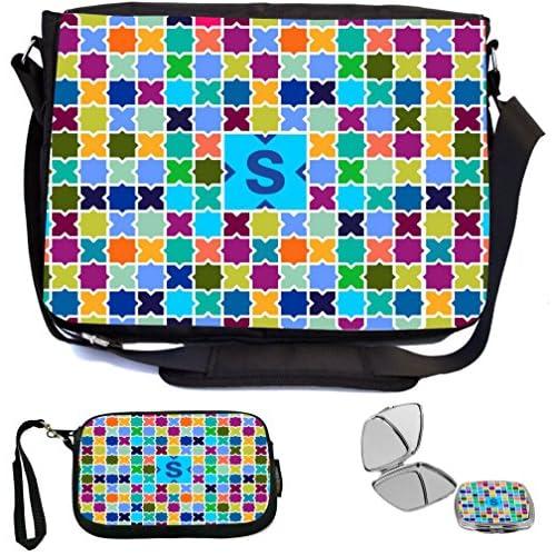 Rikki Knight Letter S Monogram Vibrant Sky Blue Edgy Mosaic Design Design COMBO Multifunction Messenger Laptop Bag - with padded insert for School or Work - includes Wristlet & Mirror