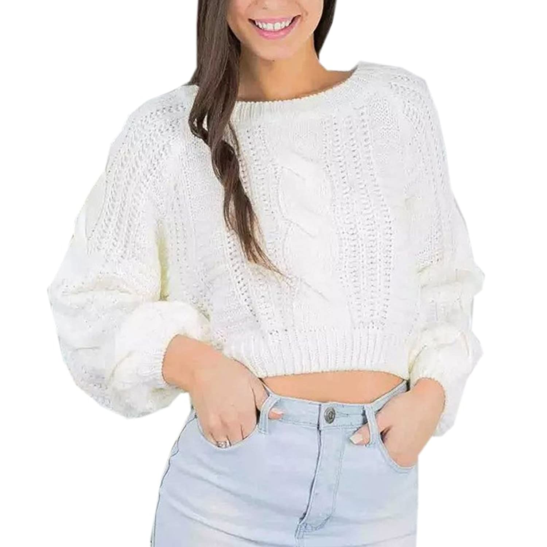 LWELA Women Casul Loose Knit Sweater Crop Top