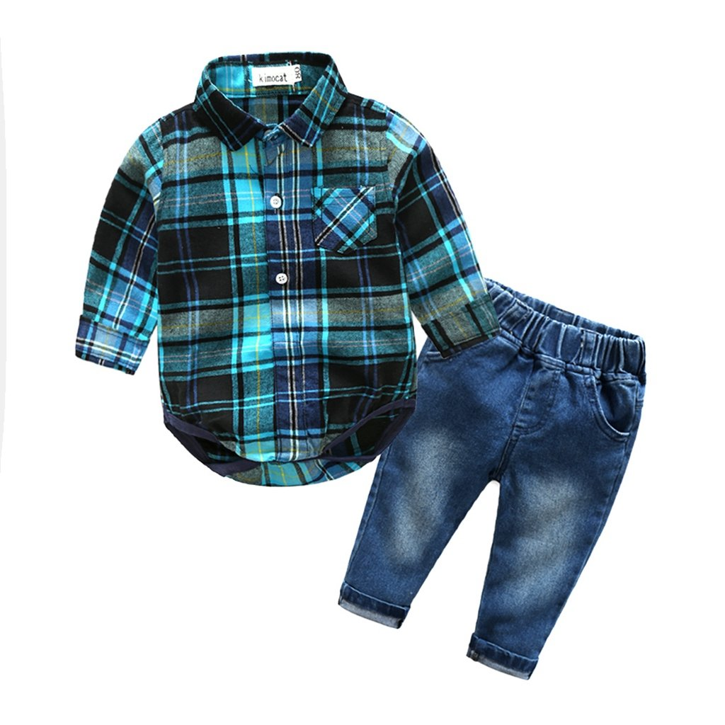 Kimocat Toddler Boy Casual Suit Long Sleeve Plaid Shirt and Denim Jeans Outfits