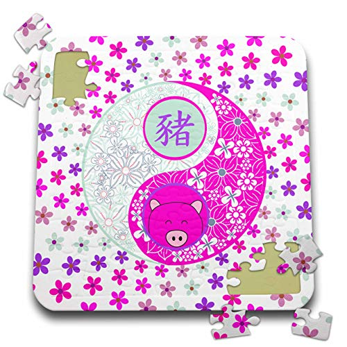 3dRose Beverly Turner Chinese New Year Design - Bright Pinks and Purple Flowered Yin Yang, Pig Face, Sign of the Pig - 10x10 Inch Puzzle (pzl_287018_2) (Flowered Pig)