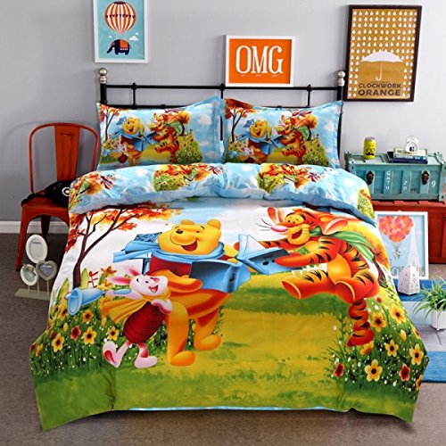 (Ln 4 Piece Kids Cute Winnie The Pooh Duvet Cover Queen Set, Adorable Happy Piglet Tigger Disney Bedding Wini The Bear Cartoon Children Orange Blue Yellow Red Multi Flowers, Polyester)