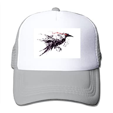 SHINENGST Crow Black Crow Ink Painting Mesh Trucker Caps Hats Adjustable  For Unisex Ash eb1cf87cb6b