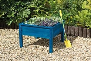Junior/kids macetero cuadrado de madera/maceta cuadro pintado en azul–Crecer Su Propio