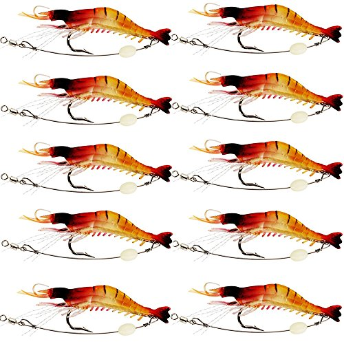 - 10pcs Soft Shrimp Lure Rigs with Luminous Fishing Hook and Glow Beads Good for Trout Bass Salmon,Freshwater/ Saltwater (Luminous)
