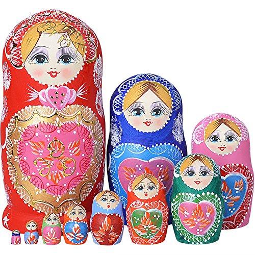 Make Russian Nesting Dolls (YAKELUS 10pcs Russian Nesting Dolls Matryoshka handmade1051)