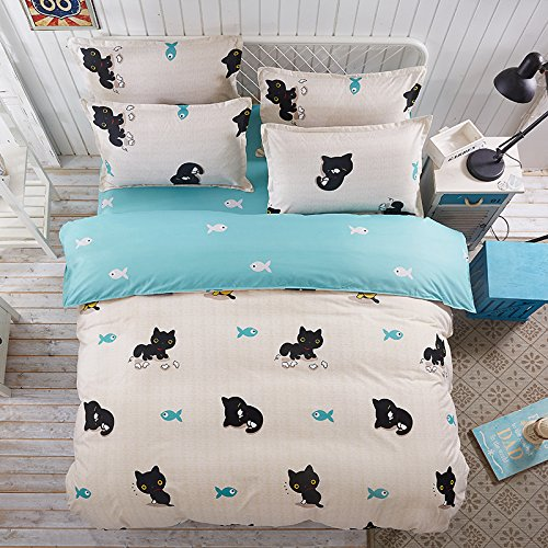 4pcs Children Bedding Sets One Duvet Cover Without Comforter One Flat Sheet Two Pillowcases Twin Full Queen Cat Design (Queen, Lovely Cat, Pink)
