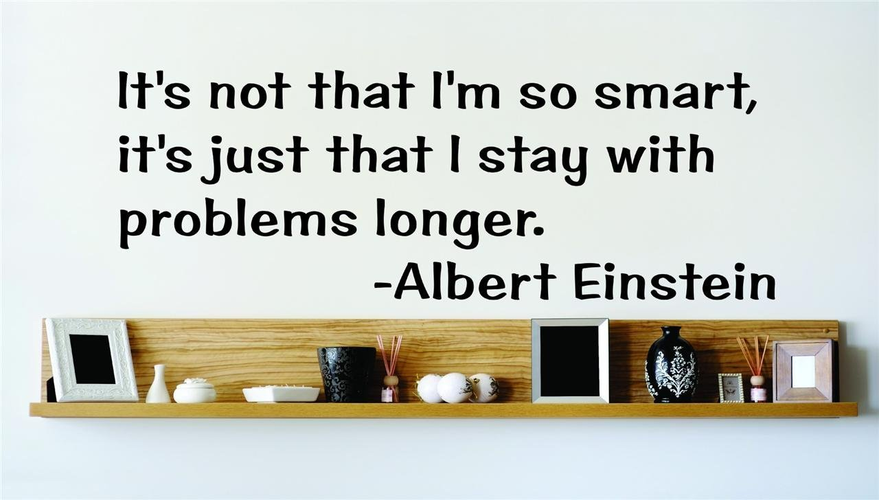 Design with Vinyl Design 105 Its Not That I'm So Smart Its Just That I Stay with Problems Longer Albert Einstein Quote Wall Decal Black