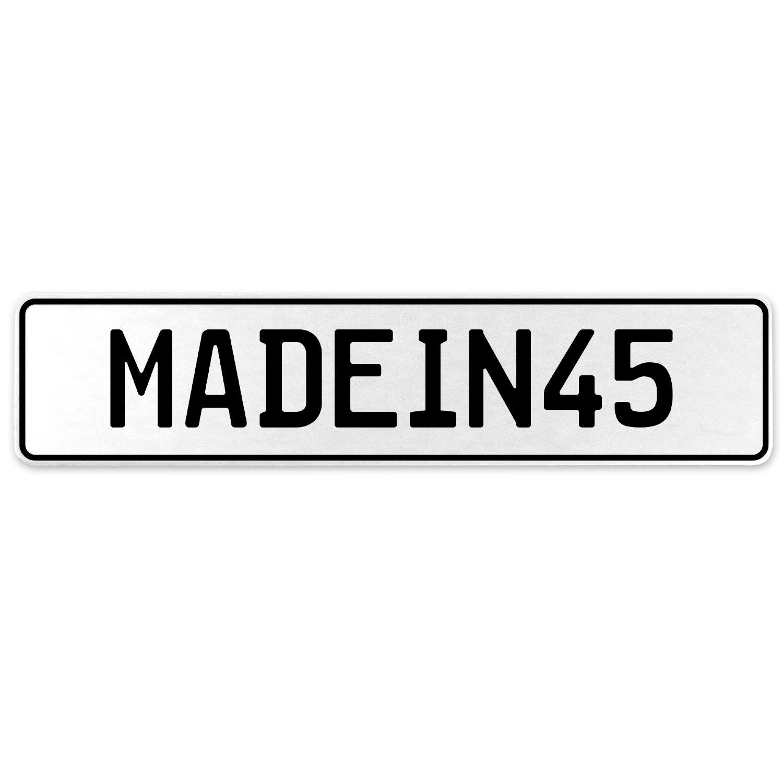 Vintage Parts 555533 MADEIN45 White Stamped Aluminum European License Plate