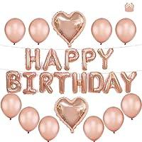 Tumao Happy Birthday Ballons Banner, Rosegold Luftballon Folienballons Buchstabenballons Luftballons Geburtstag, Latex Ballons, Elegante Party Supplies für Frauen, Kinder Baby Mädchen Party.
