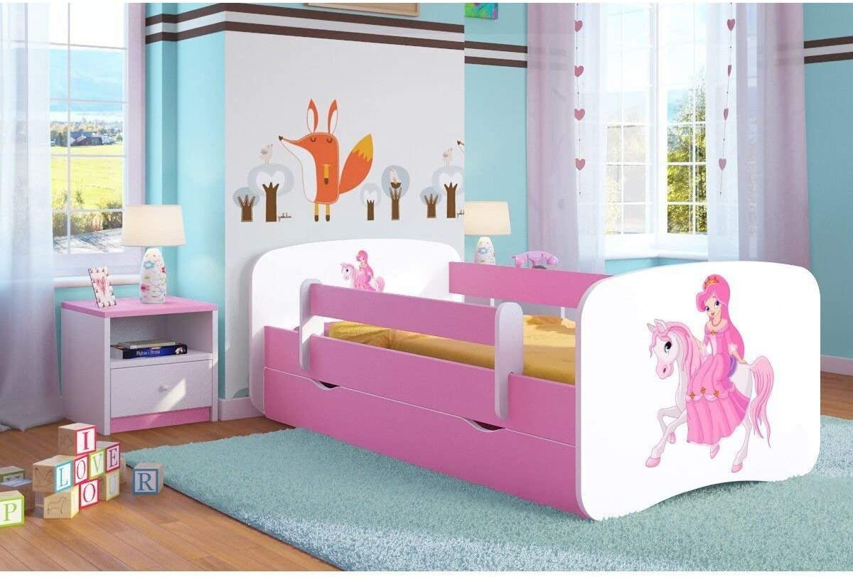 140x70 Pink Toddler Girl Bed Kids Bed Princess Horse Childrens Single Bed with Mattress and Storage Included Blank, Small Baby Dreams,