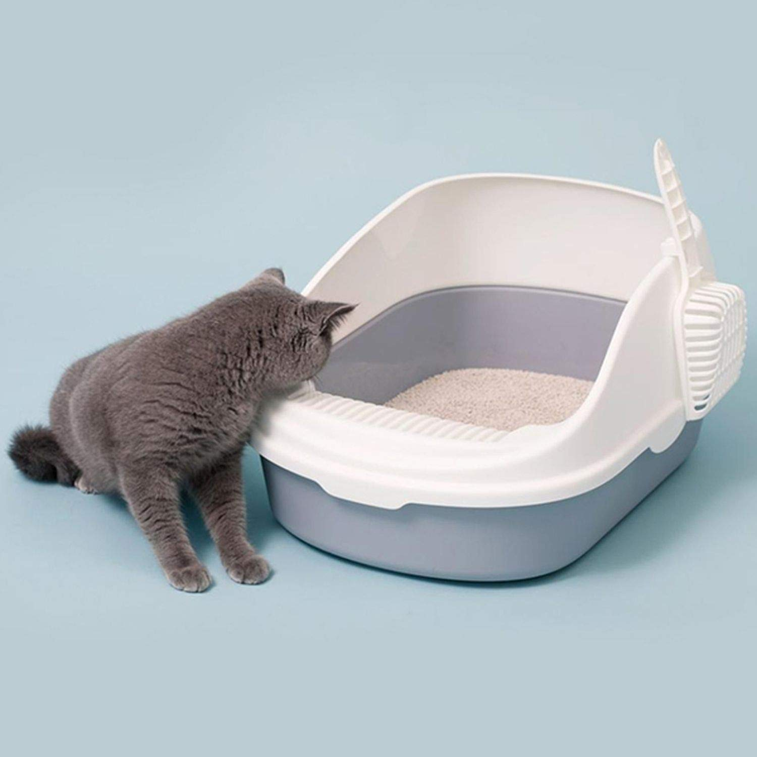 juan 9 Portable Cat Litter Bowl Toilet Bedpans Large Middle Size Cat Excrement Training Sand Litter Box with Scoop for Pets,Crystal Cream,Average Code by juan 9