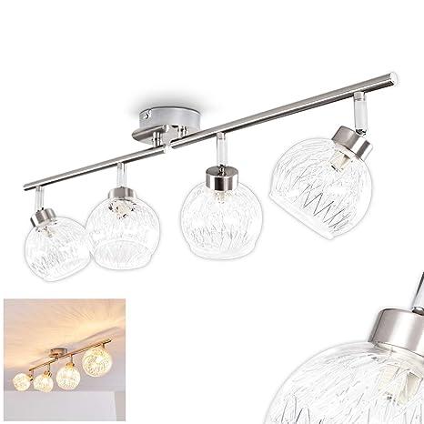 Lámpara de techo de cuatro luces Iskuras de metal níquel ...