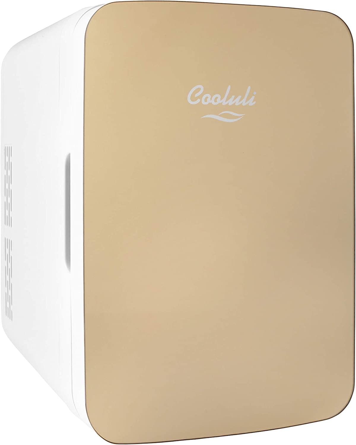 Cooluli Infinity Gold 10 Liter Compact Portable Cooler Warmer Mini Fridge for Bedroom, Office, Dorm, Car - Great for Skincare & Cosmetics (110-240V/12V)