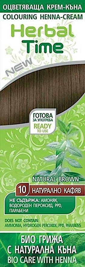 Henna Natural Colorante en Crema, Color Marrón Natural 10, Sin Amoniaco, Sin Sulfatos, Sin Parabenos