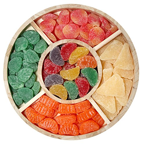 Sincerely Nuts Gummy Candy Gift Set in Wooden Tray | Haribo Grapefruit, Orange Slices, Assorted Fruit Slices, Spearmint Leaves and Gummy Peaches | Supremely Fresh Fresh Roasted Nuts