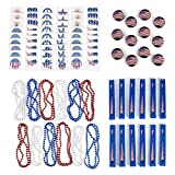 fourth of july party supplies - July 4th Independence Day Assortment Patriotic Party Favors Toy Assortment and Parade Party Set Bulk Pack of 108 Summer Toys