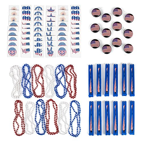 July 4th Independence Day Assortment Patriotic Party Favors Toy Assortment and Parade Party Set Bulk Pack of 108 Summer Toys (Yo Yo Maker Flower)