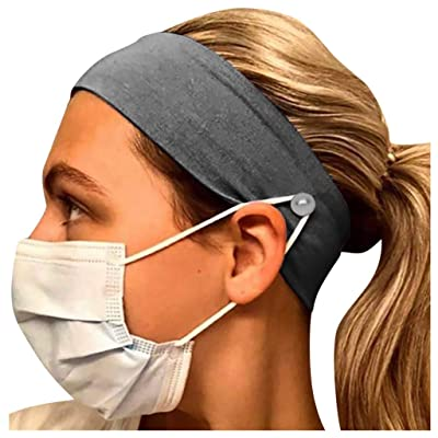 Todaies Headbands with Buttons, Face Covers Holder, Soft Comfy Headwrap Ear Protection for Nurse Doctor Everyone: Sports & Outdoors
