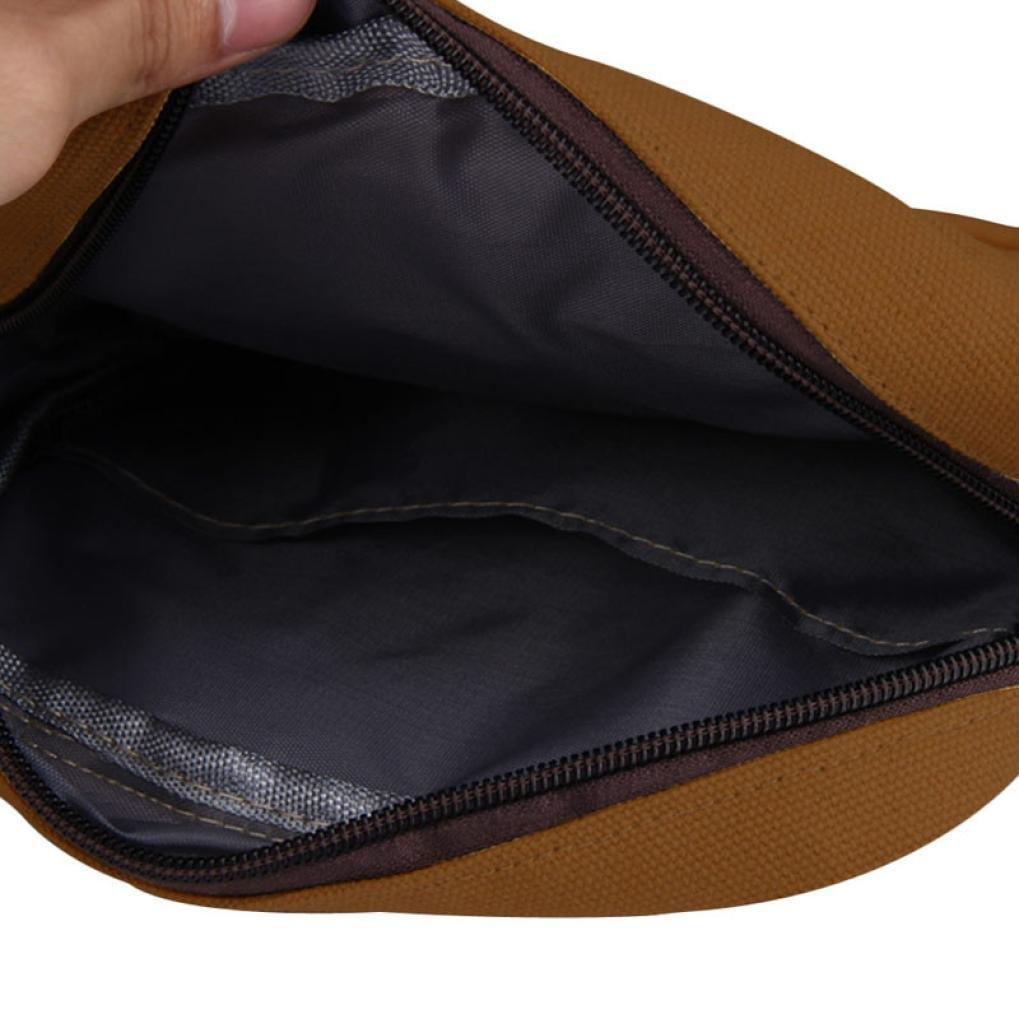 Pocciol Men Love Bags, Men's Fashion Design Canvas Shoulder Bag Crossbody Shoulder Bag Messenger Bag Work Bag (Brown) by Pocciol (Image #5)