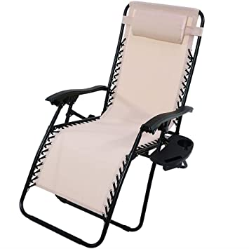 Amazoncom Sunnydaze Beige Oversized Zero Gravity Lounge Chair