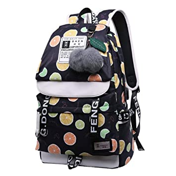 Amazon.com | Emoji Travel Pompom Student Bag Teenage Girls Best Travel Laptop Work Backpacks Female Bagpack Black lemon bag 42X30X16cm | Backpacks