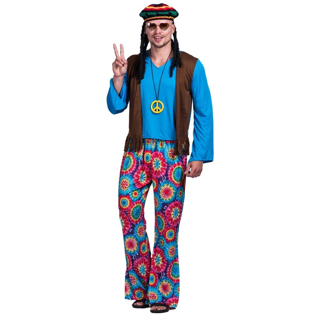 EraSpooky Men's Adult Hippie Love Peace Costume(Blue, Large)