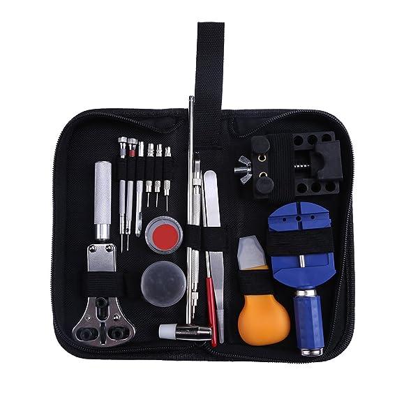 Occitop - Juego de herramientas de reparación de relojes (18 piezas, abrebotellas de pines