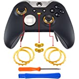 eXtremeRate Matte Chrome Gold Accent Rings Accessories for Xbox One Elite, Elite Series 2 Controller, Replacement Parts…