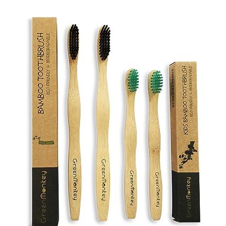 Green Monkey Cepillo de Dientes de bambú Natural orgánico de ...