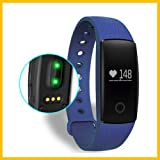 ID107PLUS Braccialetto Fitness,Smart Band Frequenza Cardiaca Monitor Fitness Tracker (blu)