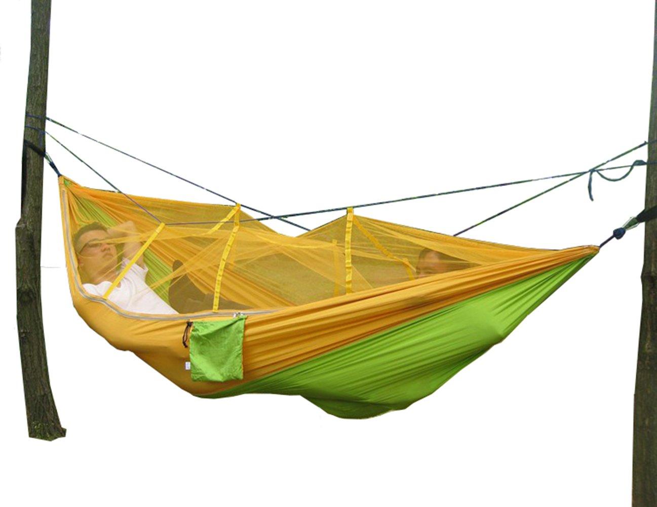 Hamaca Hamaca con mosquitera camping escapadas Saco de dormir Sleeping Bag, verde y amarillo: Amazon.es: Jardín