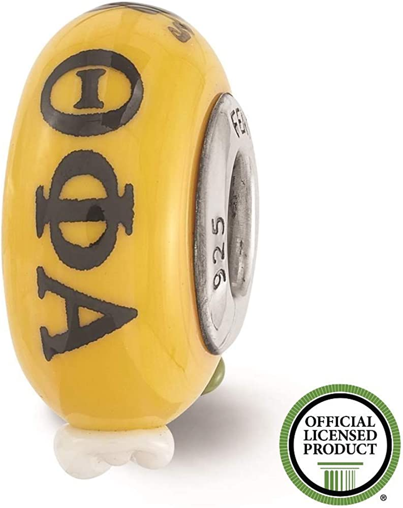 925 Sterling Silver Rhodium-plated Reflections Hand Painted Theta Phi Alpha Glass Bead