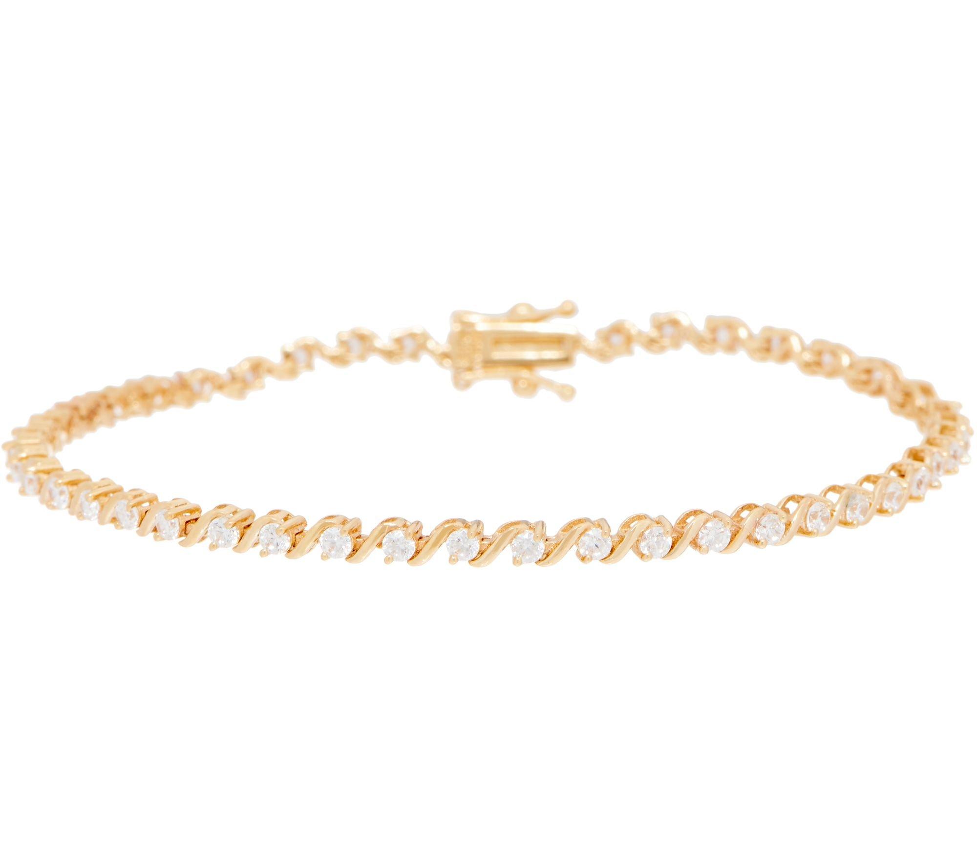 Silvercz Jewels 1.00 Carat Round Cut D/VVS1 Diamond S-Bar Tennis Bracelet In 14K Yellow Gold Plated by Silvercz Jewels
