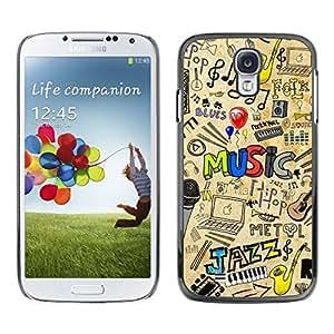Caucho caso de Shell duro de la cubierta de accesorios de protección BY RAYDREAMMM - Samsung Galaxy S4 - PATRÓN DE JAZZ MÚSICA