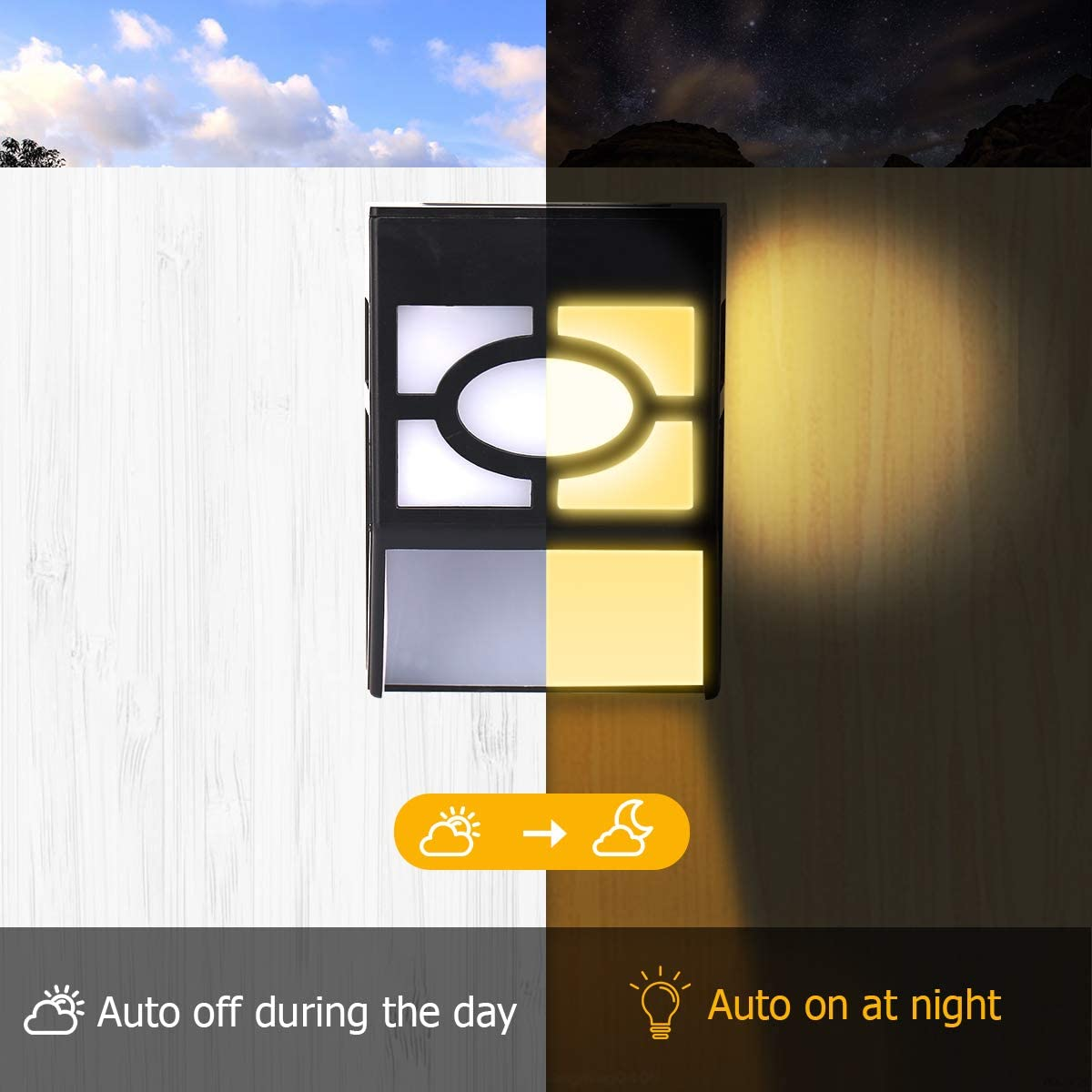 JandCase Solar Wall Lights Outdoor Fence Patio Color Changing Light Yard Warm White/&RGB Ideal for Deck 2 Modes of Lighting 16 Pack Front Door