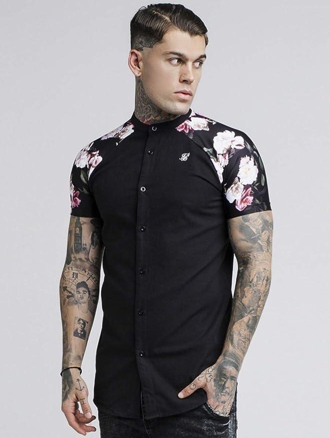 Sik Silk S/S Jeremy Oil Paint Grandad Collar Shirt Black-S ...