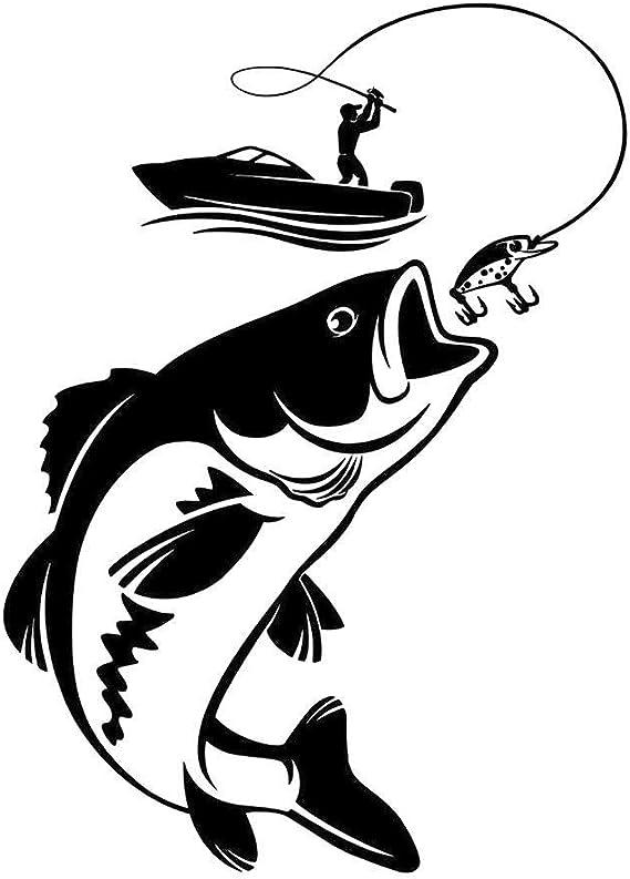 Shentan Vinyl Wandtattoo Angeln Fischer Hobby Fisch Boot Aufkleber Schwarz Küche Haushalt