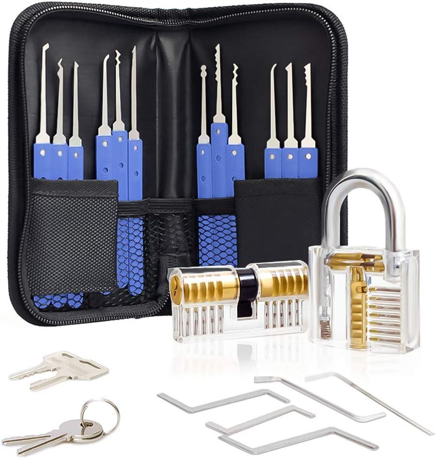 MoEvert Lock Pick Set 17-Piece Lock Pick Set with 2 Transparent Training Locks for Hobby Locksmith Beginners and Professional