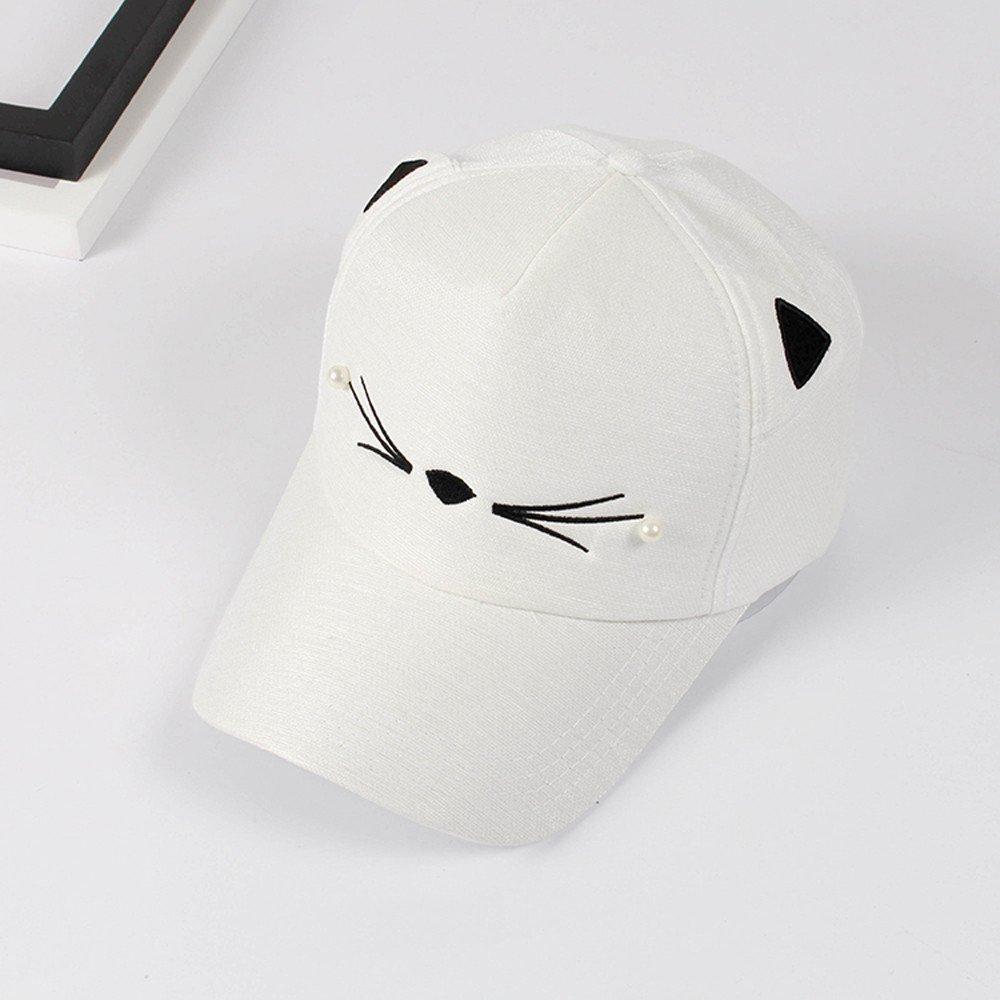 Topgrowth Cappello Donna Ragazza Marea Perla Carina Alunno Orecchie di Gatto Cappello Visiera Cappellino da Baseball
