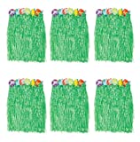 B&S FEEL Kid's Flowered Green Luau Hula Skirts, Pack of 6