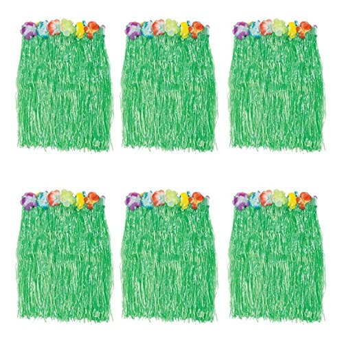 B&S FEEL Kid's Flowered Green Luau Hula Skirts, Pack of 6 -