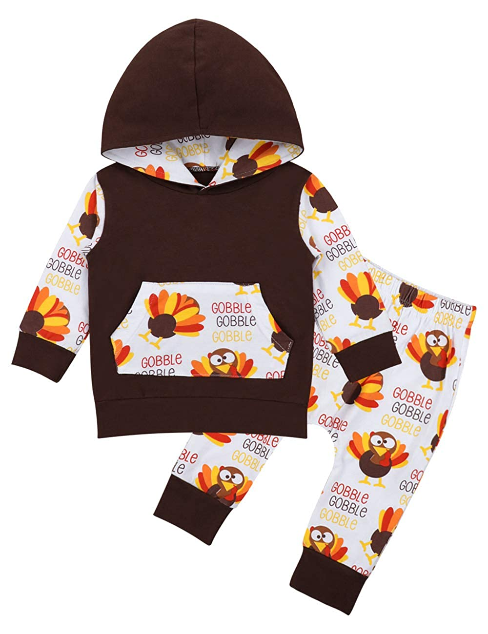 Thanksgiving Baby Outfit Newborn Boy Girl Clothes,Turkey Hoodie Top+Cute Pants 2Pcs Set bilison