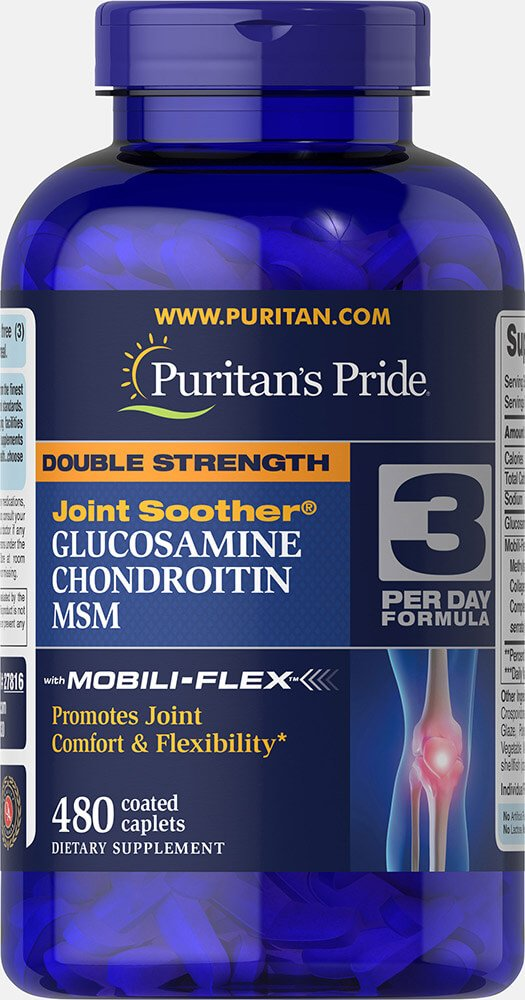 Puritans Pride Double Strength Glucosamine, Chondroitin & Msm Joint Soother, 480 Count